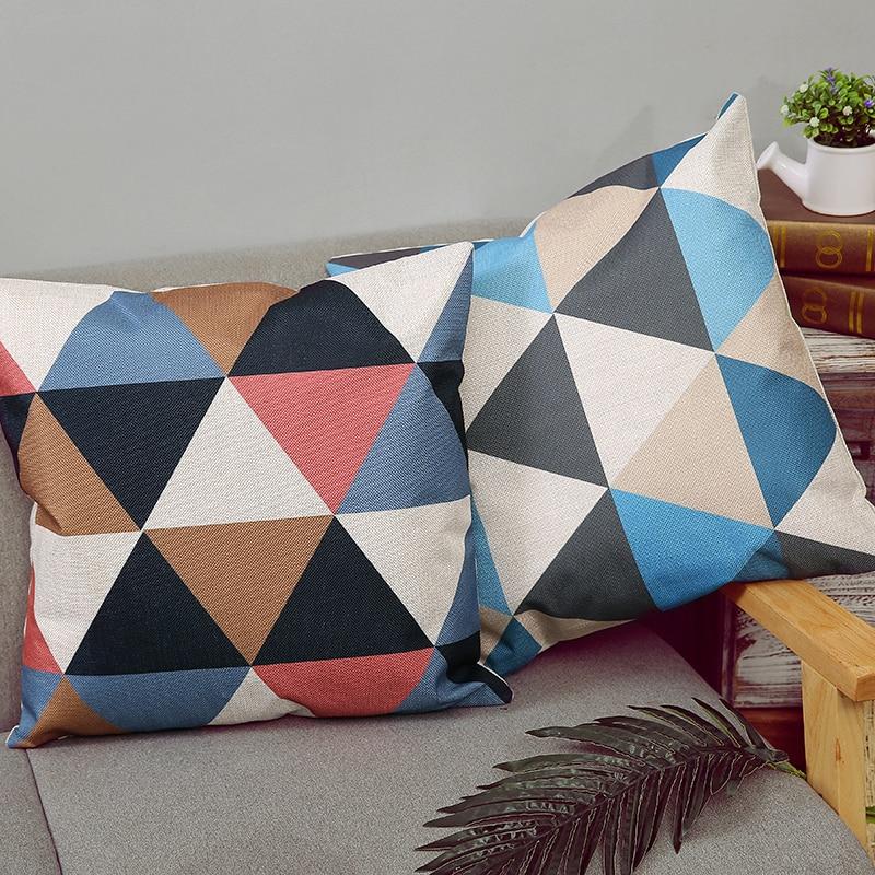 New Geometric Cushion Cover Home Decorative Bat Pillow Simple Classic Nordic Plaid For Sofa Cojines Almofada