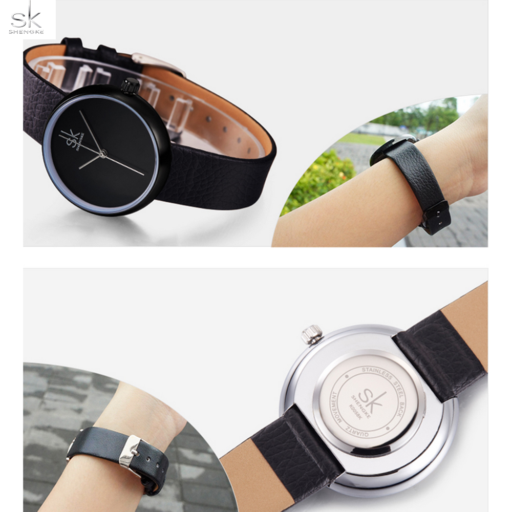 Shengke Fashion Women Watches Casual Ladies Wristwatches Black Leather Band Relogio Feminino Women Quartz clock reloj mujer 2017 new design square women watches rebirth popular brand fashion casual ladies watch quartz clock grey wristwatches reloj mujer