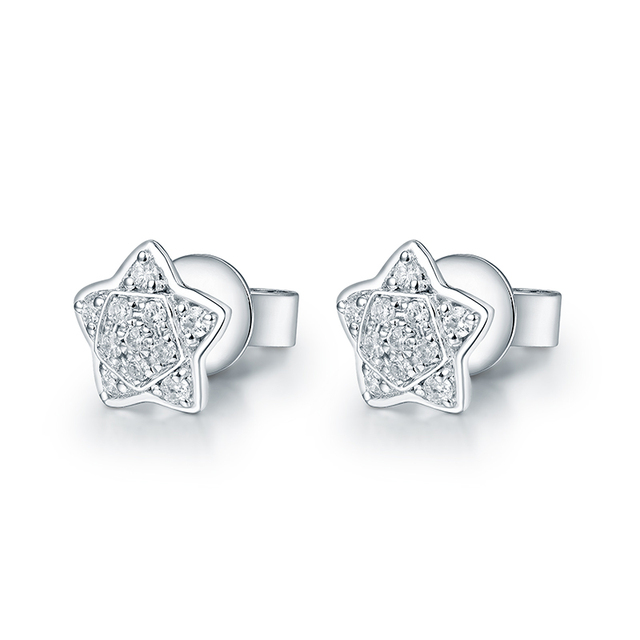 Moon Star Diamond Wedding Earring Charming Design Real 18K White Gold for Wife Christmas Best Fine Jewelry Gift