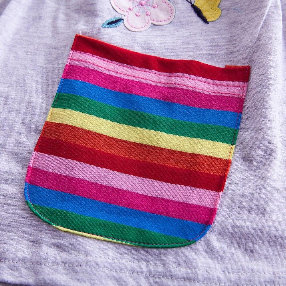 JUXINSU Girl Cotton Unicorn Cartoon Rainbow stripe Flower Long Sleeve Dress Pony Girls Autumn Winter Casual Dresses for 3 8 Year in Dresses from Mother Kids
