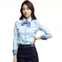 Elegant Office Ladies Shirts Long Sleeve White Light Blue Shirt With Bow Tie Feminine Blouse Women