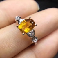 Citrine ring Natural real citrine 925 sterling silver Fine yellow crystal jewelry Handworked jewelry 6*8mm