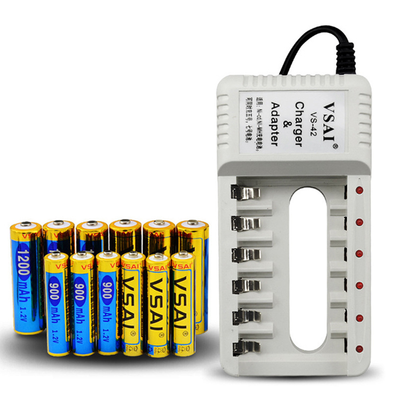 VSAI 6 Slots Battery Charger+6pcs AA 1200mAh+6pcs AAA 900mah Rechargeable batteries For NICD/NIMH/AA/AAA