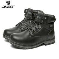QWEST Warm Zip & Lace-Up Mode Leder Boot Hohe Qualität Anti-slip Kid Schuh für Jungen Größe 35-41 82WB-SP-0536