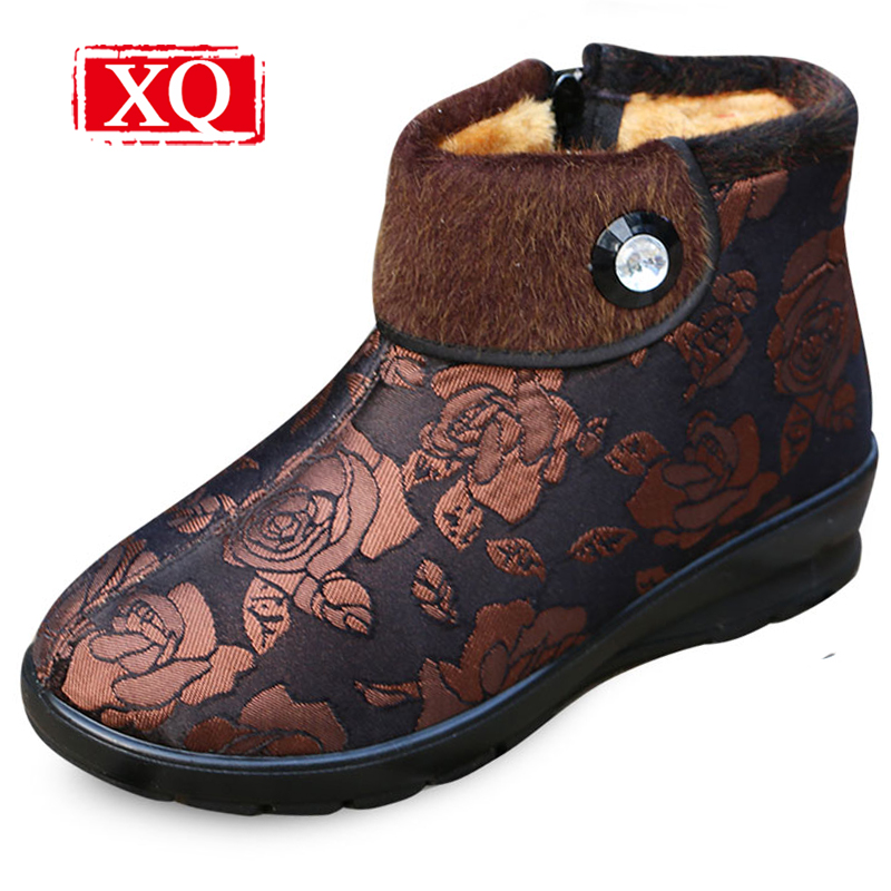 XQ Winter Women Ankle Boots Middle aged& Elderly Mother Anti Skid Warm Shoe Chinoiserie Snow Short Boot Cotton-padded Shoes W105 цены онлайн
