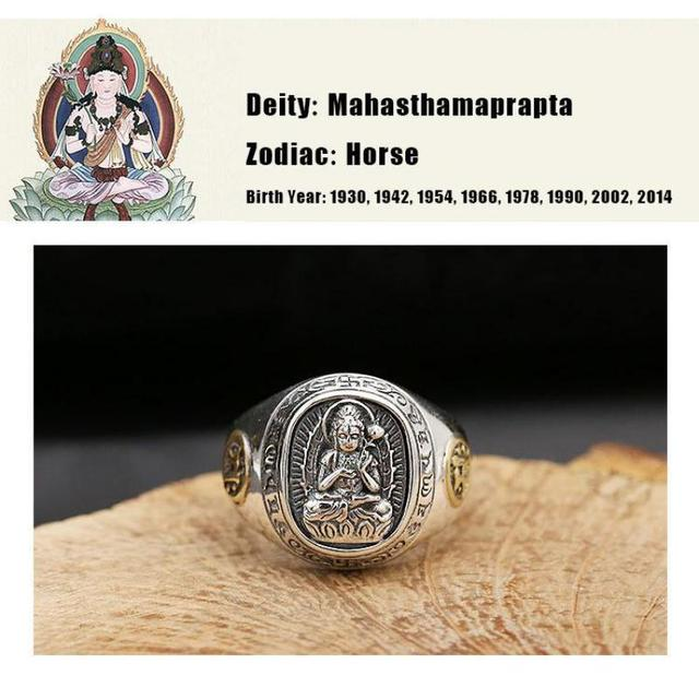 Real 925 Sterling Silver Opening Rings For Men Eight Buddhist Deities Of Twelve Zodiac Patron Saint Vintage Ethnic Fine Jewelry