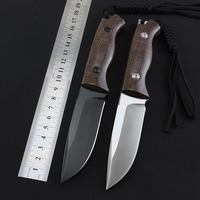 High Quality Fixed Knife D2 Blade Flax Handle Outdoor Survival Camping Hunting Knife Tactical Utility Bushcraft Diving Tool