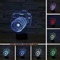 Luxo Fresco 3D Câmera USB CONDUZIU a Lâmpada decoração home sono garoto 7 Alterar Cor Night Light Illusion Dom mesa mesa quarto de Criança