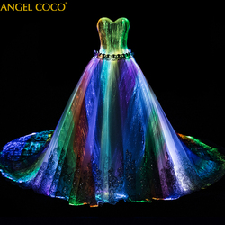 Royale Customized Night Glow In Dark Luxury Pregnancy Maternity Wedding Dress Dubai 7 Variable Color Model Fashion Runway show