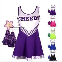 Sexy High School Cheerleader Costume Cheer Girls Uniform Party Outfit With Pompoms