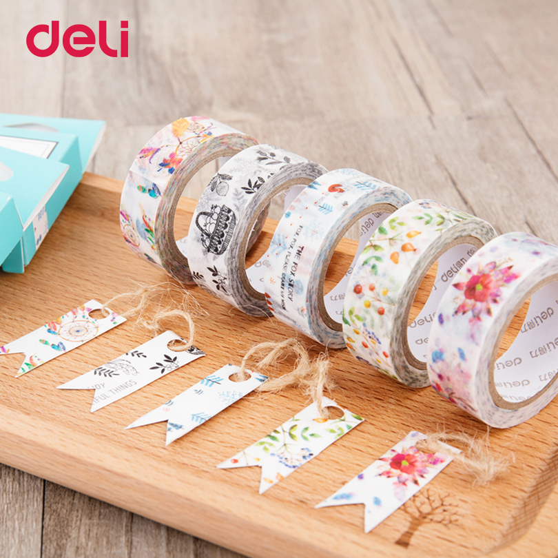 Deli DIY Cute Adhesive Tape Kawaii Japanese Decorative Washi Tape Lovely Flower Plant Masking Tape For Home Decoration