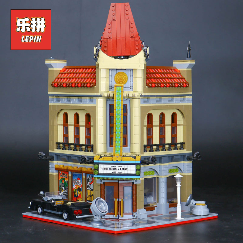 New LEPIN 15006 City Building Palace Cinema Set Model Building kits Blocks Bricks Toys Compatible 10232 Toys for Children Gifts new diy model technical robot toys large particle building blocks kids figures toy for children bricks compatible lepins gifts