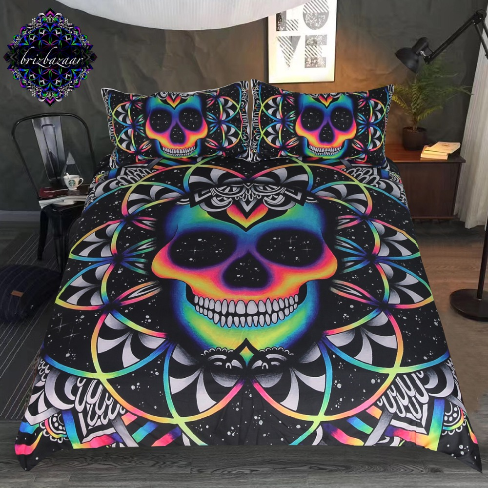 Chaos By Brizbazaar Bedding Set Queen Colorful Skull Duvet Cover Galaxy Mandala Gothic Bed Set 3