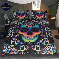 Chaos By Brizbazaar Bedding Set Queen Colorful Skull Duvet Cover Galaxy Mandala Gothic Bed Set 3 Piece Universe Cool Bedclothes