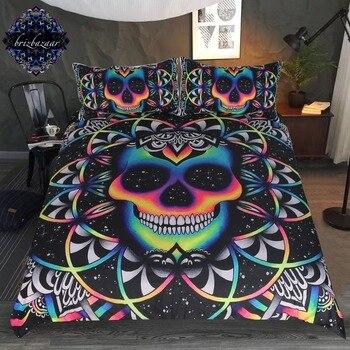 Juego de ropa de cama reina colorido cráneo edredón funda galaxia Mandala gótico cama conjunto 3 piezas universo fresco ropa de cama