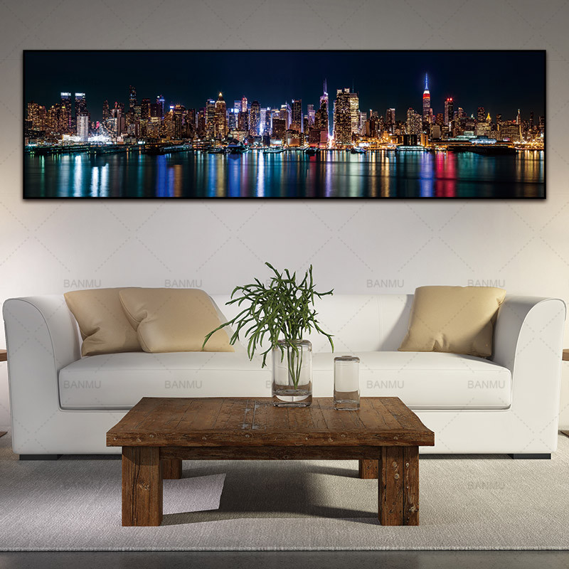 Poster Canvas Painting Wall-Picture City-Night Art-Print Home-Decor Landcape
