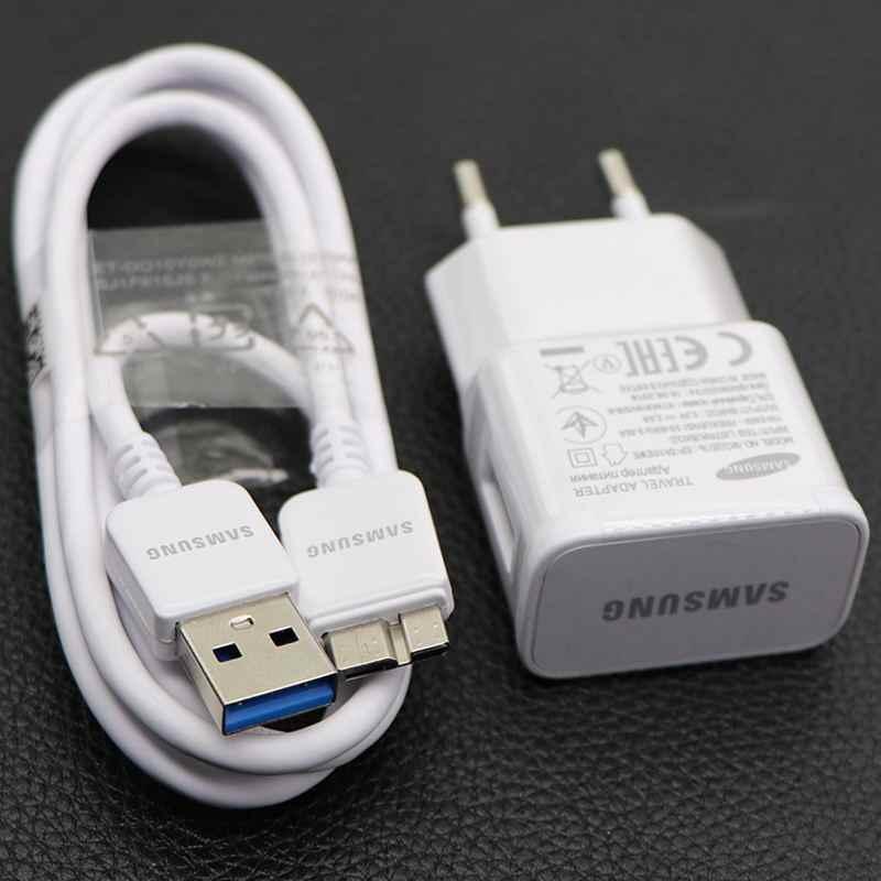 سامسونج الأصلي السفر شاحن سامسونج غالاكسي S5 نوت 3 شاحن الهاتف 5.3 فولت و 2.0A الاتحاد الأوروبي الولايات المتحدة 1 متر 3.0 USB مايكرو كابل