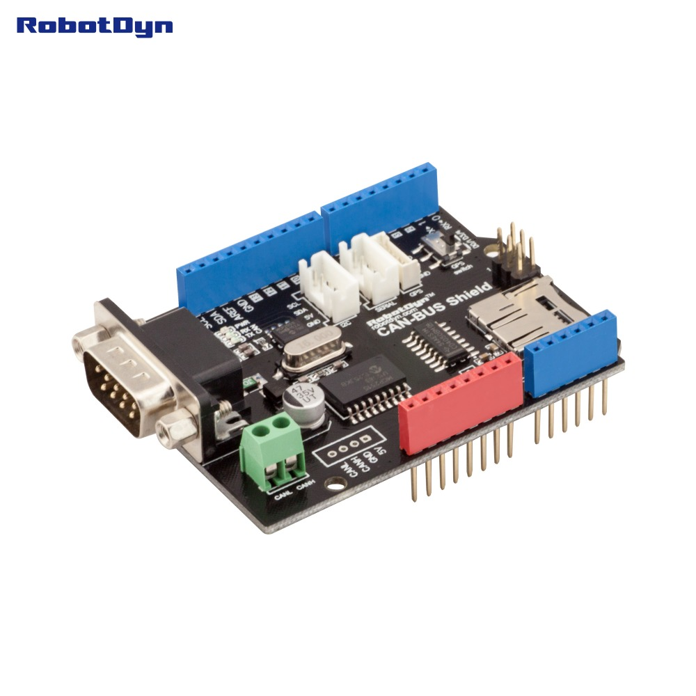 CAN-BUS Shield. Compatible for Arduino. MCP2515 (CAN-controller) and MCP2551 (CAN-transceiver).GPS connect. MicroSD-card reader. image