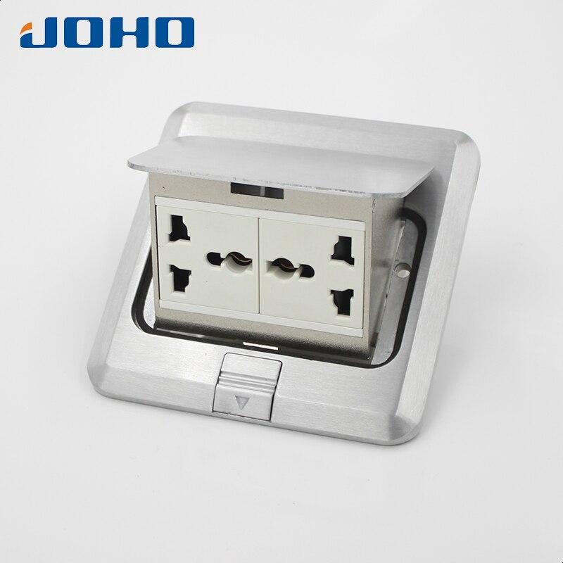 Aluminum alloy Fast Pop Up Floor Socket Box with Double Universal sockets 250V 10A