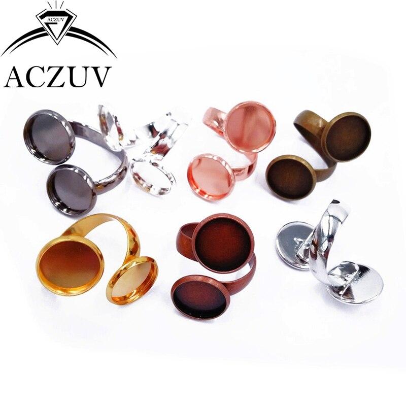 Wholesale 100piece Lot 10mm 12mm Double Bezel Blank Ring Base Cabochon Settings Silver/Gold/Gunmetal Black/Antique Bronze/Copper