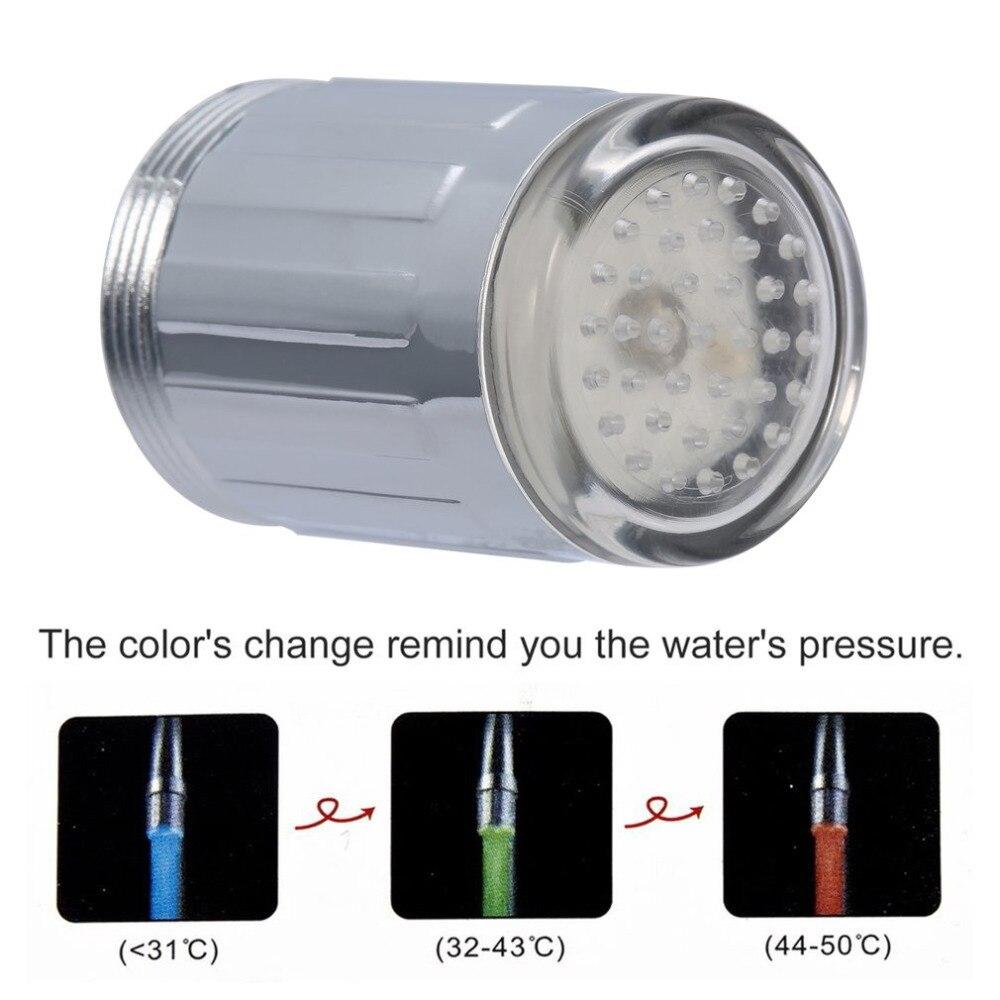 1 шт. 3 цвета светодиодный свет вода кран Нажмите гамма Glow душ нет необходимости Батарея Давление Сенсор центров