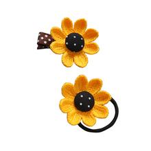 Sale 2PCS/Set Sweet Sunflower Hair Pin Rope Cute Korean Girls Fashion Elastic Bands Kids Accessories