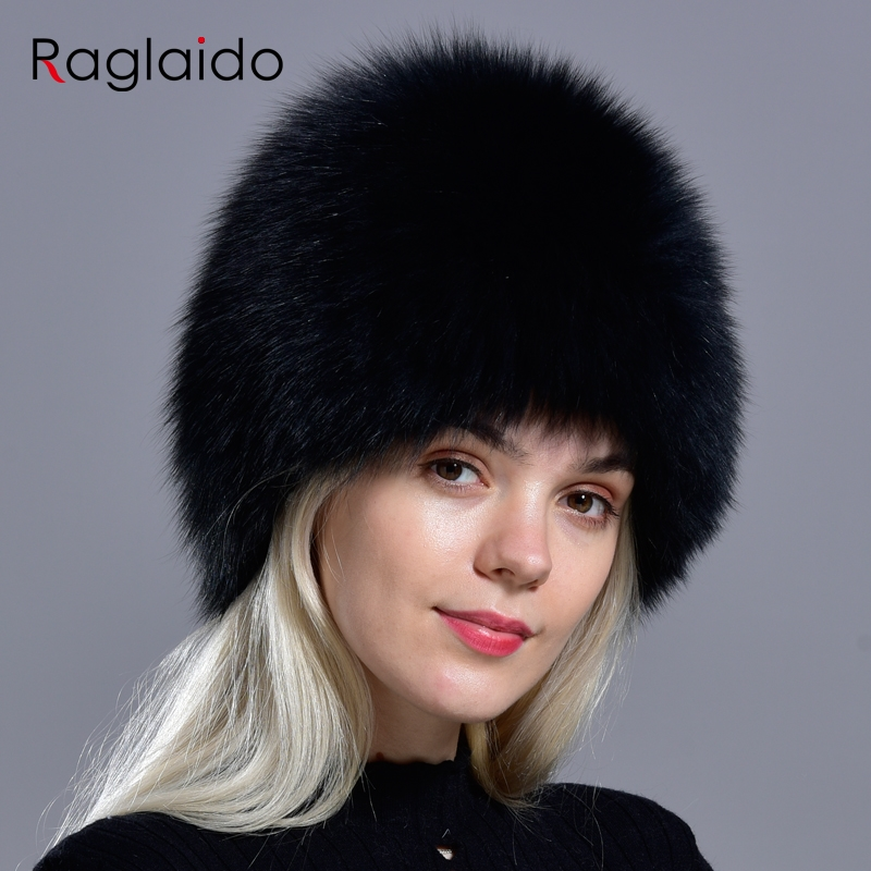 Raglaido Real Fox Fur Hats Russian Women Knittd Cap brand high quality Hand sewing Winter Beanies