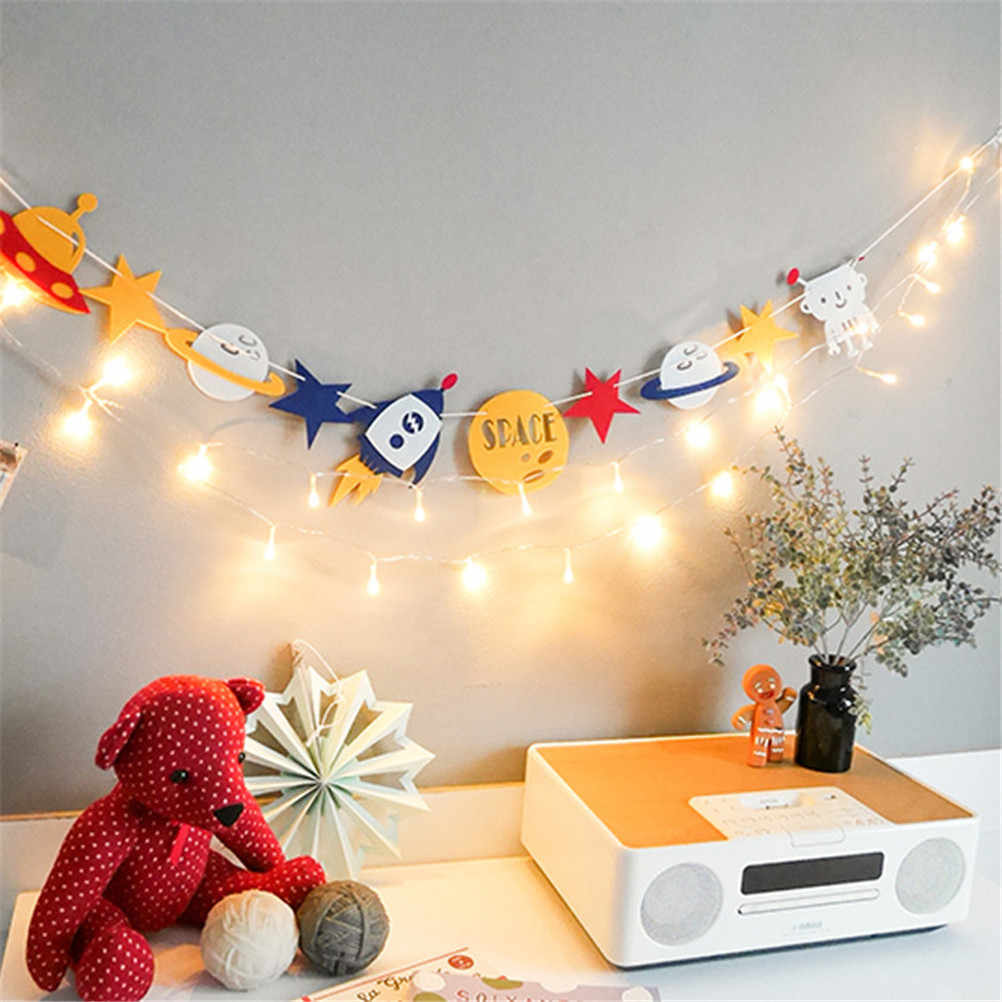 14*10 cm non-woven Kain Indah Alien Robot Bunting Bendera String Garland Ruang Baby Shower Party Decor 1 Set