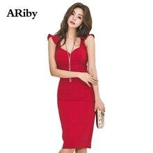 Women Dress Party Sexy Plus Size Bodycon 2019 New Summer Korean Version Elegant Temperament Backless Sleeveless Red