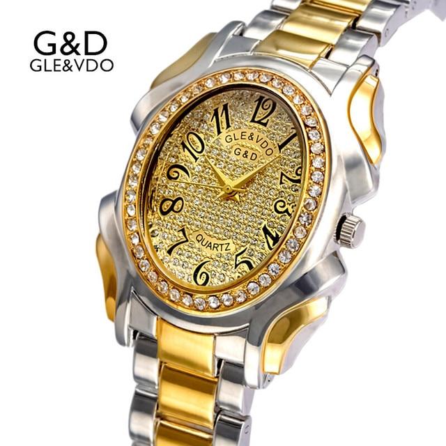 13b13db409ca 2017G   D GLE et VDO Marque De Luxe Femmes Montres Or Bracelet Montres Mode  Strass