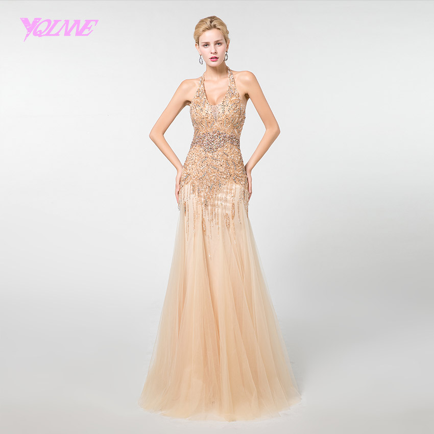YQLNNE Gold Long   Prom     Dresses   2019 Rhinestones Mermaid Beading Formal   Dress   Backless YQLNNE
