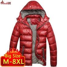 Nova jaqueta de inverno dos homens 6xl 7xl 8xl casacos casuais dos homens outwear algodão acolchoado parka blusão com capuz roupas masculinas
