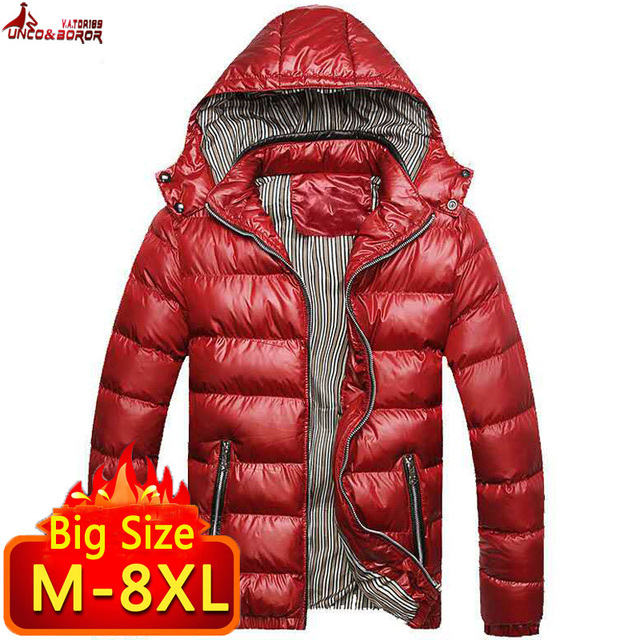 Vestes et manteaux dhiver pour homme, coupe vent à capuche en coton pour homme, 6XL, 7XL et 8XL, décontracté