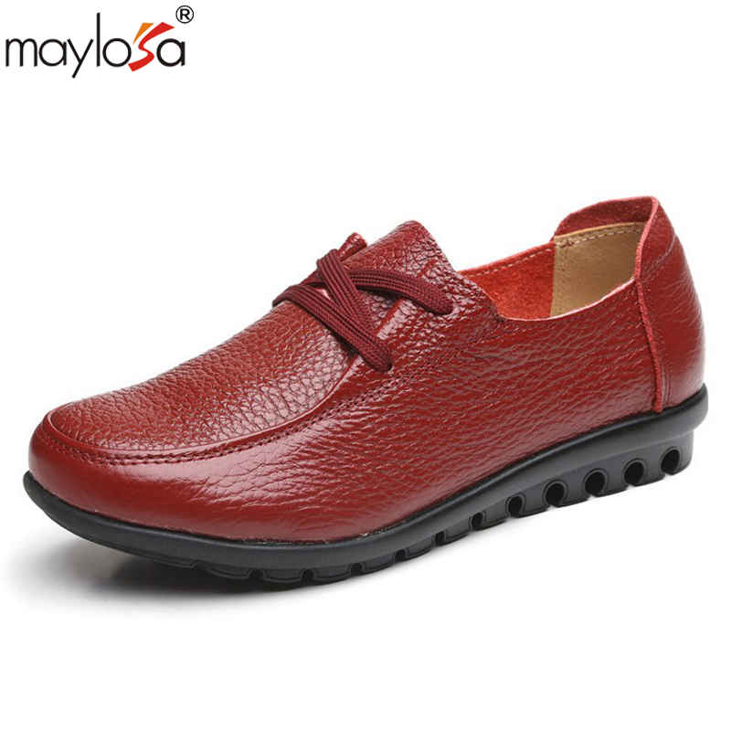 MAYLOSA women Genuine Leather Shoes Moccasins Mother Loafers Soft Leisure Flats emale Driving Casual shoes Plus Size 35-43