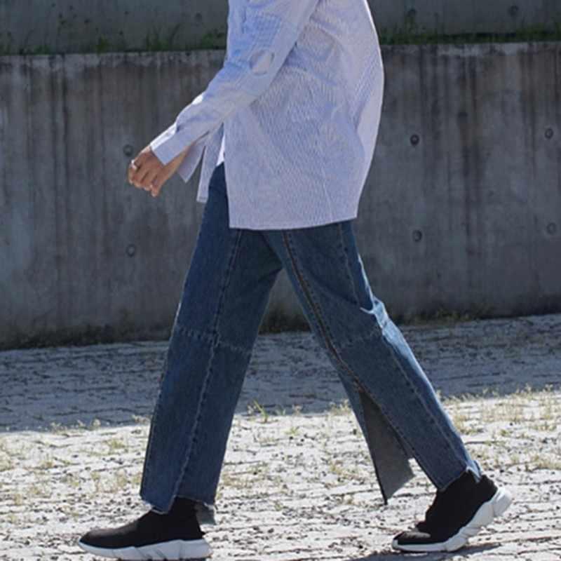 CHICEVER Streetwear ซิปกางเกงยีนส์ผู้หญิงสูงเอวขนาดใหญ่ยาวไม่สม่ำเสมอกางเกงหญิงฤดูร้อนแฟชั่นเสื้อผ้า