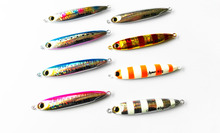 5PCS Glow Stripe Fishing Ocean Boat Slow Jig Deep sea Jigging Jigbait Spoon Lure baits 30g 40g 60g
