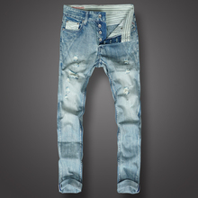 Fashion Classical Men Jeans Light Blue White Wash Destroy Ripped Jeans homme Brand Designer Streetwear Hip Hop Skinny Jeans Men