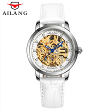 AILANG 2017 Ladies Diamond Display Women Top Brand Luxury White Simple Skeleton Transparent Case Automatic Mechanical Watches