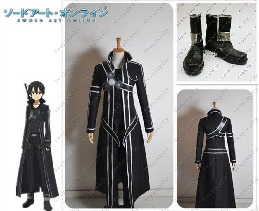 Sword Art Online Kazuto Kirito Kirigaya cosplay jelmez + cipő Full Set