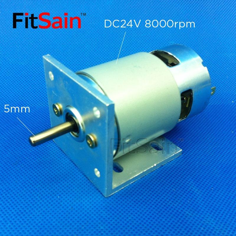 FitSain - 775 motor met beugel DC 24V 8000 tpm as 5 mm groot koppel Krachtig dubbel kogellager elektrisch gereedschap