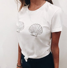 Mermaid Sea Shell Breast Boobs Tee Tumblr T-shirt Girl Hipster tee Graphic Funny Cute Tops High Quality Crewneck Cotton Outfits