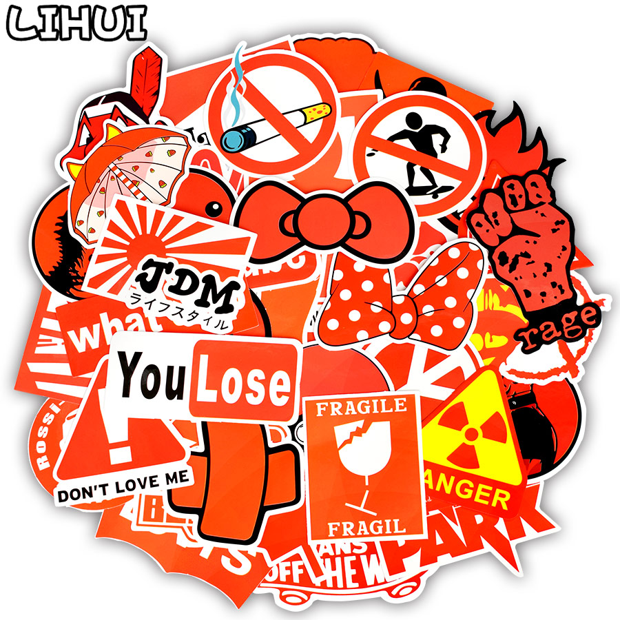 50 PCS Red Style Sticker Mixed Graffiti Cool Trendy PVC Stickers For Car Travel Case Skateboard Bicycle Laptop Waterproof Decals