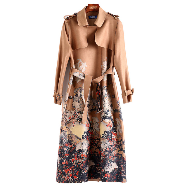 autumn winter camel / dark grey floral print suede trench coat long sleeve buckle belt mid-calf length fitted long trench coat