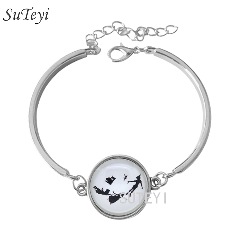 SUTEYI <font><b>Peter</b></font> <font><b>Pan</b></font> <font><b>Bracelet</b></font>,Tinkerbell Silhouette Second Star to the Right' Bangle Jewelry, Silver-Plated Bangle For girl BR40 image