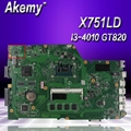 Akemy X751LD материнская плата для ноутбука ASUS R752L X751L X751LN тест оригинальная материнская плата I3-4010U GT820M