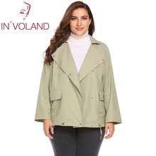 IN'VOLAND Women Short Jacket Coat Plus Size XL-5XL Autumn Long Sleeve Double-Breasted Lady Lightweight Outerwear Tops Oversized