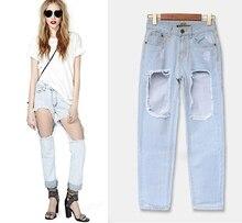 2017 Новый Стиль женские случайные Свободные Джинсы Мода Отверстия Хлопок Джинсы Летние женская Одежда Дизайн Джинсы