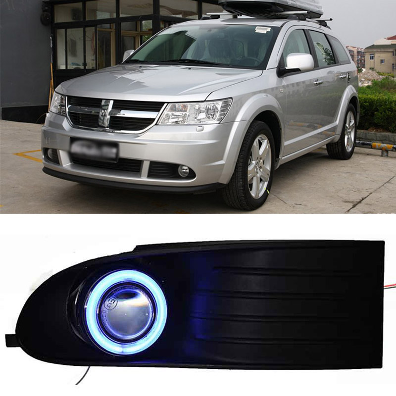 Ownsun COB Angel Eye Rings Projector Lens with 3000K Halogen Lamp Source Black Fog Lights Bumper Cover For Dodge Journey 09-11 ownsun cob angel eye rings projector lens with 3000k halogen lamp source black fog lights bumper cover for skoda fabia sport