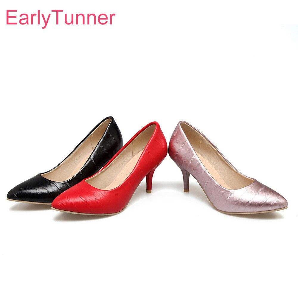 21b1aee840d275c Фирменная Новинка пикантные красные, черные Для женщин свадебные туфли- лодочки розовый гламур на высоком каблуке Женская обувь открытые ту.