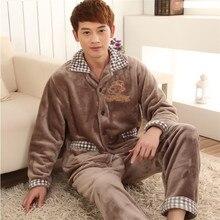 Pajamas For Men Winter Sleepwear Flannel Thickening Men Pyjamas Men's Sleep Lounge Pajama Sets Plus Size 3XL